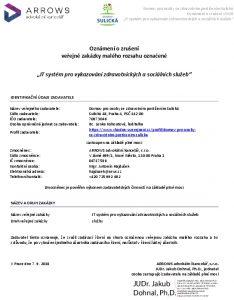 Icon of Oznámení o zrušení VZ - IT systém pro vykazování zdravotnických a sociálních služeb
